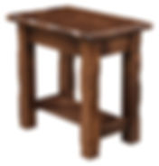 Hand Hewn Chairside End Table|Rustic Cherry in Medium OCS110|16in W x 24in D x 24in H|The Amish Home|Amish Furniture at the Pittsburgh Mills