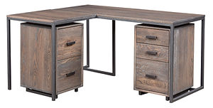 Capri Industrial Style L-Desk with metal base|Oak in Antique Slate OCS118|62in W x 25in D x 30in H|The Amish Home|Amish Furniture at the Pittsburgh Mills