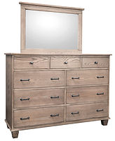 Kensington Tall Dresser with Optional Mirror | Nine drawer dresser. Six wide inset drawers, three narrow top drawers. Flat sides, mitered base trim, tapered feet. | Oak (Wire-Brushed) in Gray Pearl Finish | 60in W x 19 1/4in D x 43in H | The Amish Home | Amish Furniture at the Pittsburgh Mills