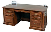 Jefferson Executive Desk | Available with contrasting columns in stone finish | Cherry in Chocolate Spice FC-9090 | 72 1/2in W x 36in D x 30 1/2in H | The Amish Home | Amish Furniture at the Pittsburgh Mills