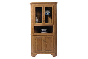 Americana Corner Hutch|Oak in Fruitwood OCS102|34in W x 30in D x 78in H|The Amish Home|Amish Furniture at the Pittsburgh Mills Amish Dining Solutions