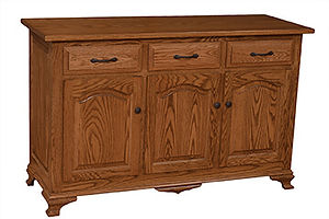 Plum Creek 3 Door Buffet|Oak in Seely OCS104|57 3/4in W x 20in D x 35in H|The Amish Home|Amish Furniture at the Pittsburgh Mills