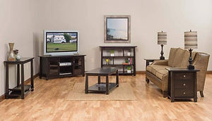 Avon Living Room Furniture Collection|TV Stand, Coffee Table, End Tables, Sofa Table, Bookcase|Solid Brown Maple in Onyx OCS230|The Amish Home|Amish Furniture at the Pittsburgh Mills
