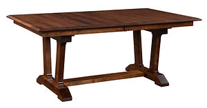 Harper Trestle Table | Shown with rectangular top, beveled edge. Butterfly leaf available. | Brown Maple in Michaels OCS113 | Many Sizes Available | The Amish Home | Amish Furniture at the Pittsburgh Mills