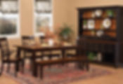 Suburban Dining Room Collection with solid hardwood dining table with rustic cerry top ad two-tone finish, side chairs, arm chairs, and a bench, with a large china cabinet with three ope spaces and six drawers in the buffet with a rustic herry buffet top and a hutch top with three drawers and three shelves with no doors with an arched top and a rustic cherry shiplap back