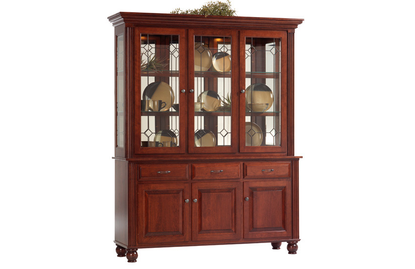 Wood china cabinet - Upstate collection three door size in cherry with leaded glass