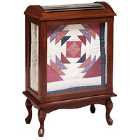 Medium Quilt Case | 2 quilt bars, wood back, clear glass | Cherry in Washington OCS107 | 27 1/2in W x 15in D x 40 3/4in H | The Amish Home | Amish Furniture at the Pittsburgh Mills