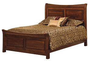 Wilkshire Bevel Panel Bed|Rustic Cherry in Boston OCS111|Headboard 54in H, footboard 27in H|The Amish Home|Amish Furniture at the Pittsburgh Mills