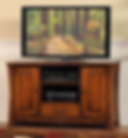 Woodbury TV Stand | With two doors with arched raised panels, one drawer, and adjustable shelves. | Brown Maple in Asbury OCS117 | 50in W x 19in D x 30in H | The Amish Home | Amish Furniture at the Pittsburgh Mills