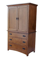 Empire Mission Armoire|Quartersawn White Oak in Michaels OCS115|41 1/4in W x 23 3/4in D x 72in H|The Amish Home|Hardwood Furniture at the Pittsburgh Mills
