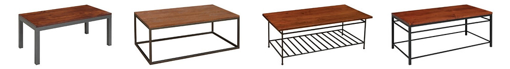 Industrial Coffee Tables|Coffee tables with metal base|Franklin|Bedford|Bradford|Cameron|The Amish Home|Amish Furniture at the Pittsburgh Mills