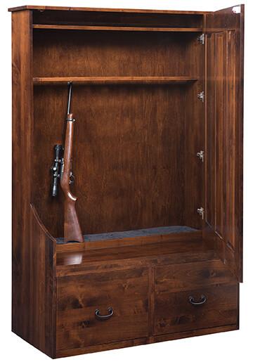 Sedona Hall Seat Gun Cabinet, shown open