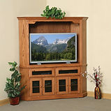 Heirwood Corner Entertainment Center | Available in Shaker (as shown), Traditional, or Mission style | Oak in Fruitwood OCS102 | in W x 19 1/2in D x 71 1/2in H, 45in wall space | The Amish Home | Amish Furniture at the Pittsburgh Mills