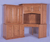 Heirwood 84 Corner Computer Center | Oak in Fruitwood OCS102 | 47in W x 24in D x 74 3/4in H | The Amish Home | Amish Furniture at the Pittsburgh Mills