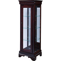 Glendale Curio | 3 adjustable shelves with plate groove, mirror back, clear glass, LED touch light, no lock | Brown Maple in Coffee OCS226 | 20in W x 17in D x 60in H | The Amish Home | Amish Furniture at the Pittsburgh Mills