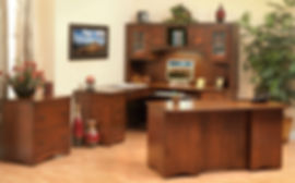 Prairie Mission Office Furniture Collection|Executive desk, L-desk with hutch, lateral file cabinet|Solid Brown Maple in Coffee OCS226|The Amish Home|Amish Furniture at the Pittsburgh Mills
