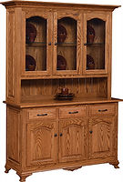 Plum Creek 3 Door Hutch|Oak in Seely OCS104|60 3/4in W x 20in D x 84in H|The Amish Home|Amish Furniture at the Pittsburgh Mills