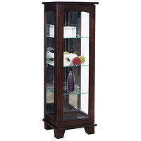 Contemporary Sliding Door Curio | 3 adjustable shelves with plate groove, mirror back, clear glass, LED touch light, door slides left | Brown Maple in Onyx OCS230 | 20in W x 17in D x 601/2in H | The Amish Home | Amish Furniture at the Pittsburgh Mills
