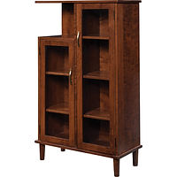 Bungalow Display Case | 5 adjustable wood shelves, wood back and sides, clear glass, no light, no lock | Brown Maple in Michaels OCS113 | 32in W x 14 1/2in D x 55in H | The Amish Home | Amish Furniture at the Pittsburgh Mills
