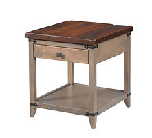 Frontier End Table|Reclaimed Barn Oak in Asbury OCS117|22in W x 24in D x 24in H|The Amish Home|Hardwood Furniture at the Pittsburgh Mills