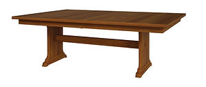 Hoover Trestle Table | Shown with rectangular top, eased edge. Butterfly leaf available. | Oak in Michaels OCS113 | Many Sizes Available | The Amish Home | Amish Furniture at the Pittsburgh Mills
