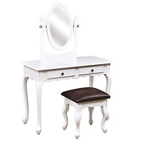 Queen Anne Dressing Table | Brown Maple in White Paint | 42in W x 17 1/2in D x 30 1/2in H | The Amish Home | Amish Furniture at the Pittsburgh Mills