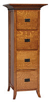 Mt. Eaton Four-Drawer File Cabinet | Quartersawn White Oak in Michaels OCS113 | 26in W x 24in D x 64in H | The Amish Home | Amish Furniture at the Pittsburgh Mills
