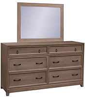 Glendale Double Dresser with Optional Mirror | Four wide drawers and two narrow top drawers. Inset drawer design with recessed panel. 79 1/2in high with optional mirror. | Rustic Quartersawn White Oak in Barnwood SP-10 | 60in W x 19in D x 35in H | The Amish Home | Amish Furniture at the Pittsburgh Mills