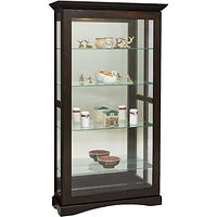 Mission Large Sliding Door Picture Frame Curio | 4 adjustable shelves with plate groove, mirror back, clear glass, LED touch light, door slides left | Brown Maple in Onyx OCS230 | 39 1/2in W x 14 3/4in D x 72 1/2in H | The Amish Home | Amish Furniture at the Pittsburgh Mills