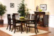 English Shaker Dining Room Furniture Collection|Arlington Leg Table, Christy Chair, English Shaker China Pantry|Solid Brown Maple in Onyx OCS230|The Amish Home|Amish Furniture at the Pittsburgh Mills