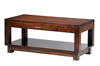 Urban Coffee Table with drawer | Contemporary clean style with square legs, block feet, and satin nickel bar hardware. | Brown Maple in Rich Tobacco OCS228 | 42in W x 22in D x 18in H | The Amish Home | Amish Furniture at the Pittsburgh Mills
