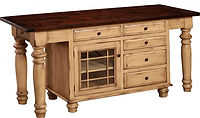 Constance Bay Kitchen Island | 1 door, 7 drawers & 1 adjustable shelf. Shown with rough sawn top with breadboard ends. | Brown Maple in Paint & Glaze | 75in W x 24 1/2in D x 34 1/2in H | The Amish Home | Amish Furniture at the Pittsburgh Mills
