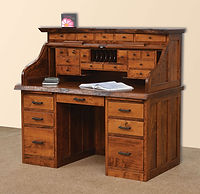 Mission Roll Top Desk with Live Edge and Drawers on Top | Rustic Cherry in Michaels OCS113 | 56in W x 30in D x 51 1/2in H | The Amish Home | Amish Furniture at the Pittsburgh Mills
