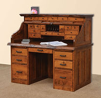 Mission Roll Top Desk with Live Edge and Drawers on Top|Rustic Cherry in Michaels OCS113|56in W x 30in D x 51 1/2in H|The Amish Home|Amish Furniture at the Pittsburgh Mills