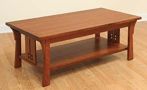 Cantebury Coffee Table|Quartersawn White Oak in Michaels OCS113|42in W x 22in D x 18in H|The Amish Home|Amish Furniture at the Pittsburgh Mills