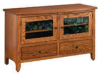 Wayne's Shaker TV Stand | Oak in Seely OCS104 | 50in W x 20in D x 30in H | The Amish Home | Amish Furniture at the Pittsburgh Mills