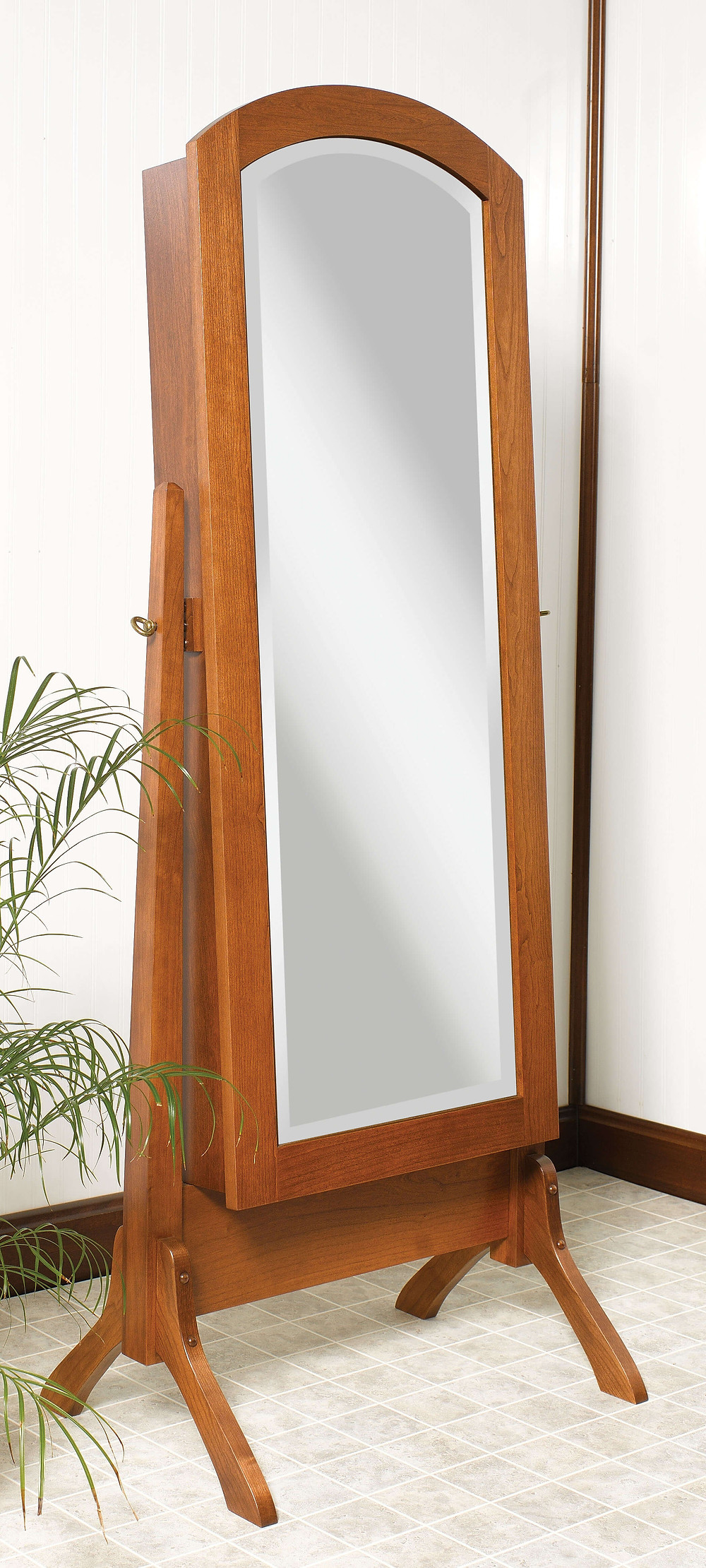 Solid cherry standing cheval mirror with hidden jewelry box solid cherry with michaels stain hardwood furniture amish furniture made in the usa pittsburgh mills