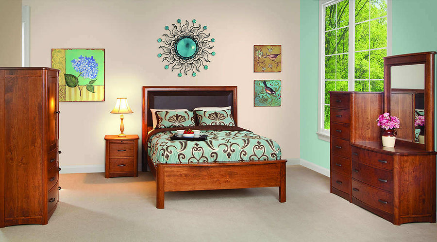 Meridian Bedroom Furniture Collection|Meridian Leather Panel Bed, 2 Drawer Nightstand, Armoire, Chesser|Solid Rustic Cherry in Seely OCS104|The Amish Home|Amish Furniture at the Pittsburgh Mills