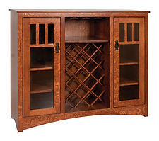 Wine Buffet|Quartersawn White Oak in Asbury OCS117|50in W x 16in D x 42in H|The Amish Home|Amish Furniture at the Pittsburgh Mills