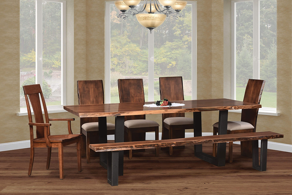 Abbington Live Edge Dining Table collection natural edge slab in solid walnut on metal base with black powdercoat show with live edge slab dining chairs with fabric seats and live edge bench with matching metal base solid walnut solid hardwood furniture made in the usa amish furniture pittsburgh mills
