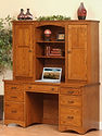 Prairie Mission Pencil Desk with Hutch | Oak in Michaels OCS113 | 60in W x 24in D x 70 1/4in H | The Amish Home | Amish Furniture at the Pittsburgh Mills