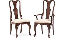 Queen Anne Dining Chair|Cherry in Washington OCS107 | Shown with upholstered (padded) seat.|The Amish Home|Amish Furniture at the Pittsburgh Mills