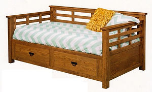 Addison Day Bed with underbed storage | Oak in Fruitwood OCS102 | 83 1/2in W x 46 1/4in D x 37in H | The Amish Home | Amish Furniture at the Pittsburgh Mills