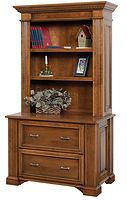 Lincoln Lateral File Cabinet with Hutch|Brown Maple in Boston OCS111|45in W x 24in D x 79 1/2in H|The Amish Home|Amish Furniture at the Pittsburgh Mills
