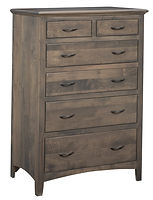 Choices 6 Drawer Chest|Brown Maple in Smoke OCS121|37in W x 21in D x 54in H|The Amish Home|Amish Furniture at the Pittsburgh Mills