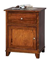 Hyland Park 1 Drawer 1 Door Nightstand|Brown Maple in Michaels OCS113|24in W x 17 3/4in D x 30in H|The Amish Home|Hardwood Furniture at the Pittsburgh Mills