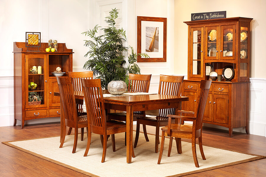 English Shaker Dining Room Furniture collection, featuring 3 door china cabinet and pottery pantry, with a dining table and 6 chairs, shown in quartersawn white oak with brushed nickel hardware