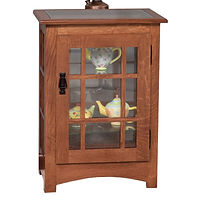 Mission Console Curio End Table | Glass top, 2 adjustable shelves with plate groove, mirror back, clear glass, no light, black pull with lock, door hinged right | Quartersawn White Oak in Michaels OCS113 | 21 1/2in W x 14 1/2in D x 30in H | The Amish Home | Amish Furniture at the Pittsburgh Mills