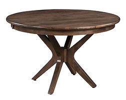 Burdock Single Pedestal Table | Shown with round top, roundover edge. Available with butterfly leaf. | Brown Maple in Cocoa OCS122 | Many Sizes Available | The Amish Home | Amish Furniture at the Pittsburgh Mills