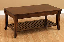 Riviera Coffee Table|Brown Maple in Rich Tobacco OCS228|42in W x 22in D x 18in H|The Amish Home|Amish Furniture at the Pittsburgh Mills